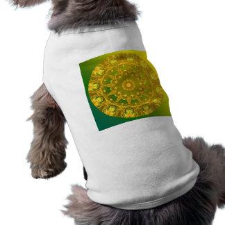 Yellow-Green Abstract Wheel of Fire Mandala Shirt