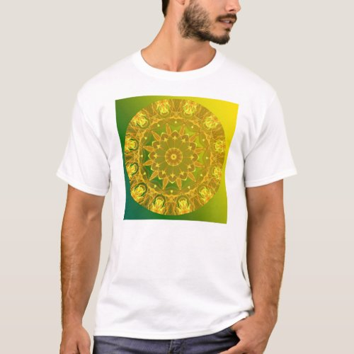 Yellow-Green Abstract Wheel of Fire Mandala T-Shirt
