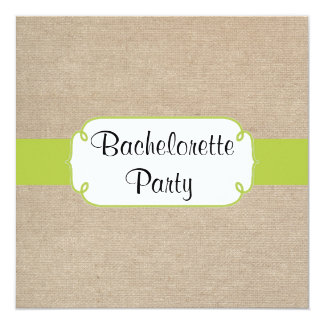 Yellow Green and Beige Burlap Bachelorette Party 5.25x5.25 Square Paper Invitation Card
