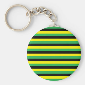 Yellow, Green and Black  Stripes Keychain
