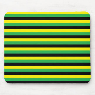 Yellow, Green and Black  Stripes Mouse Pad