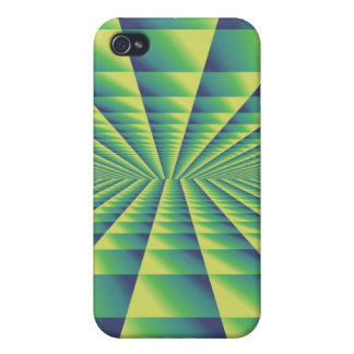 Yellow, Green and Blue Abstract Design iPhone 4 Cases