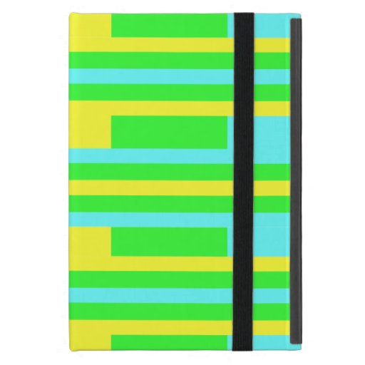 Yellow Green and Blue Stripes iPad Mini Cases