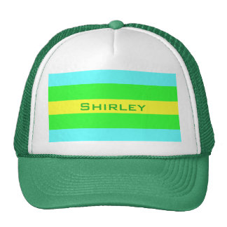 Yellow Green and Blue Wide Stripes by STaylor Trucker Hat