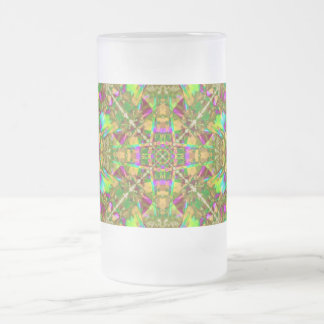 Yellow Green and Pink Mandala Pattern Frosted Glass Beer Mug