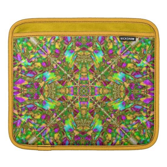 Yellow Green and Pink Mandala Pattern iPad Sleeve
