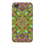 Yellow Green and Pink Mandala Pattern iPhone 4 Cover