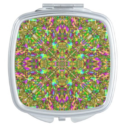 Yellow Green and Pink Mandala Pattern Compact Mirror