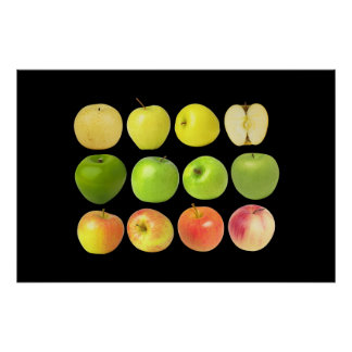 Yellow, Green, and Red Apples Poster