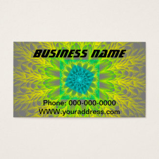Yellow Green And Teal Psychedelic Vortex Fractal Business Card