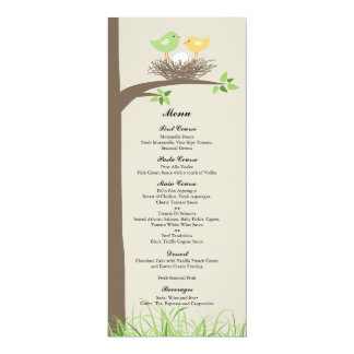 yellow green baby bird 39 s nest baby shower menu card