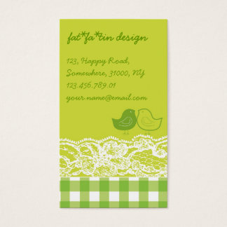 Yellow & Green Birds Scrapbook Lace Profile Card