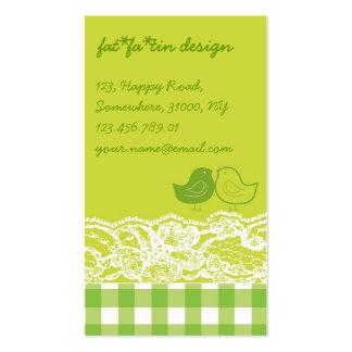 Yellow & Green Birds Scrapbook Lace Profile Card Business Card