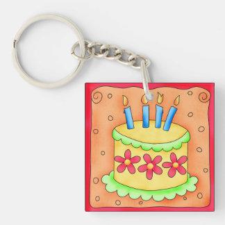 Yellow & Green Birthday Cake Red Flowers Key Chain