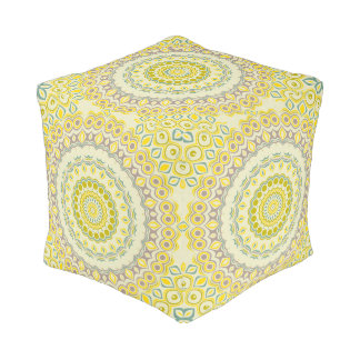 Yellow, Green, Blue and Grey Kaleidoscope Flowers Cube Pouf