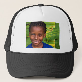yellow green blue jazz trucker hat