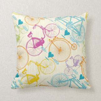 Yellow Green Blue Pink Retro Bicycle Pattern Throw Pillow