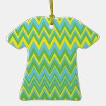 Yellow Green & Blue Zig Zag Pattern Ornament