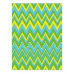 Yellow Green & Blue Zig Zag Pattern Postcards