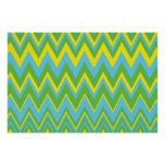 Yellow Green & Blue Zig Zag Pattern Poster