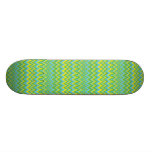 Yellow Green & Blue Zig Zag Pattern Skateboard