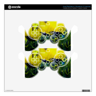 Yellow Green Bright Bird Feathers Decal For PS3 Controller