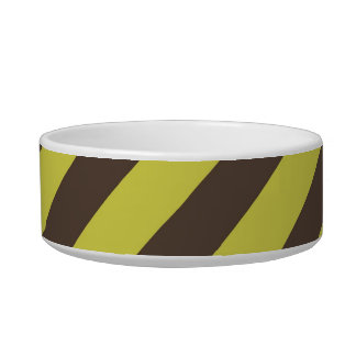Yellow Green Brown Diagonal Stripes Pattern Bowl