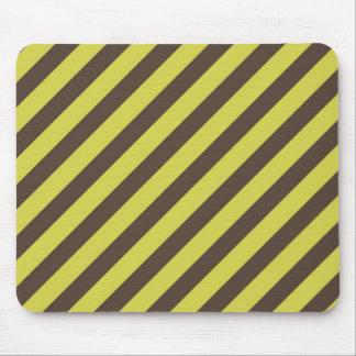 Yellow Green Brown Diagonal Stripes Pattern Mouse Pad