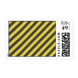 Yellow Green Brown Diagonal Stripes Pattern Postage