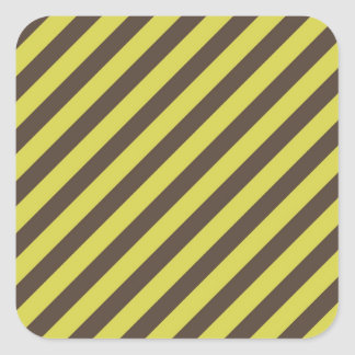 Yellow Green Brown Diagonal Stripes Pattern Square Sticker
