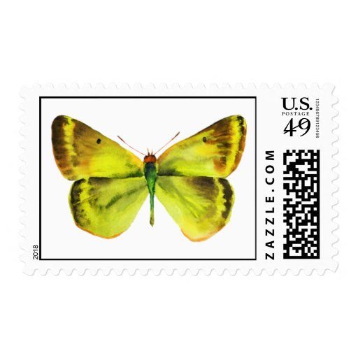 Yellow Green Butterfly Stamp