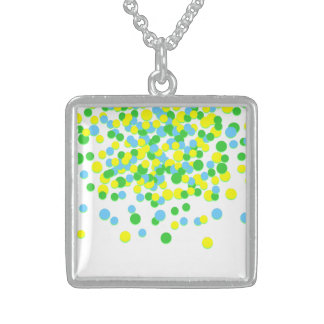 Yellow Green Circle Silver Square Necklace