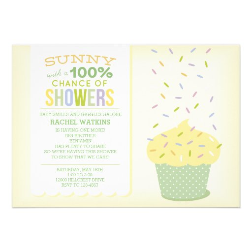 Yellow & Green Cupcake Sprinkles Baby Shower Personalized Invitation