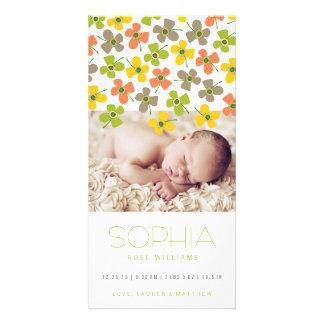 Yellow Green Daisies Baby Girl Birth Announcement
