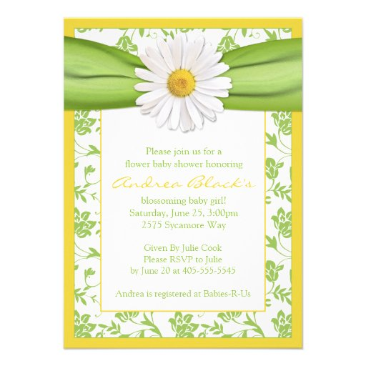green ribbon and green floral damask and yellow accents baby shower