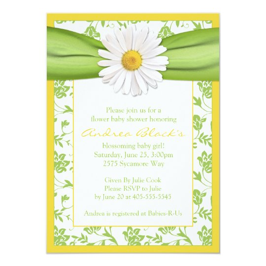 Yellow Green Daisy Floral Baby Shower Invitation Zazzle