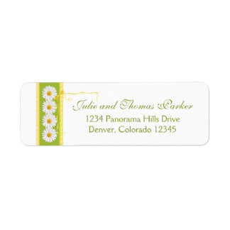 Yellow Green Daisy Ribbon Wedding Return Address Label