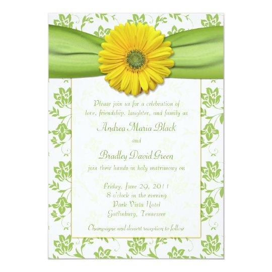 Yellow Green Damask Daisy Wedding Invitation Zazzle Com