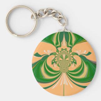 Yellow Green Design. Basic Round Button Keychain