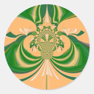Yellow Green Design. Classic Round Sticker