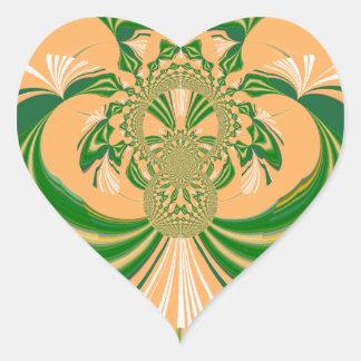Yellow Green Design. Heart Sticker