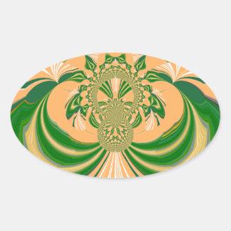 Yellow Green Design. Oval Sticker