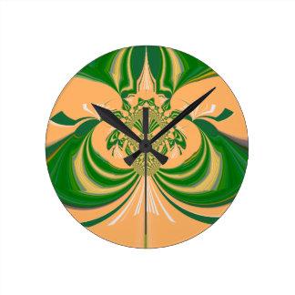 Yellow Green Design. Round Clock