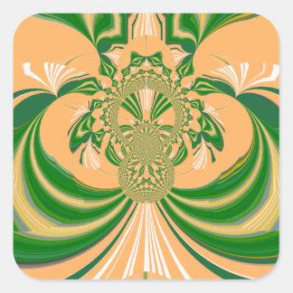 Yellow Green Design. Square Sticker