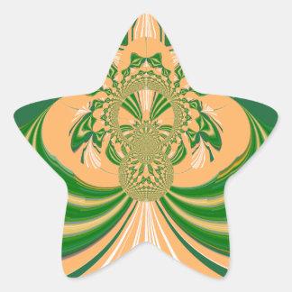 Yellow Green Design. Star Sticker