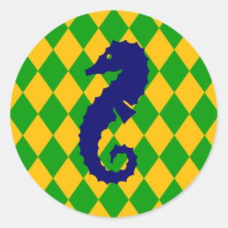 Yellow & Green Diamonds Classic Round Sticker