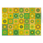 Yellow Green Flower Pattern Greeting Card