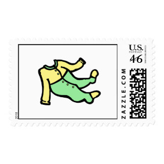 yellow green footy PJ s Postage Stamps