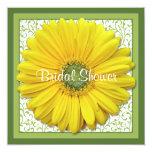"Yellow Green Gerber Daisy Bridal Shower Invitation 5.25"" Square Invitation Card"