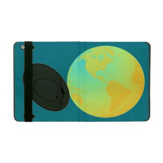 Yellow Green Gold Neon Globe iPad Folio Case